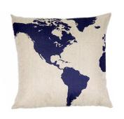 Globe Map Print Linen Blend Decorative Throw Pillow Cover Case, 43cm Square