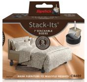 Slipstick CB659 Adjustable Bed Risers for Desks, Tables, and Heavy Furniture (Set of 8) Adds 3.2cm , 6.4cm Or 9.5cm H, Black