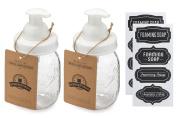 Jarmazing Products Mason Jar Foaming Soap Dispenser – White – With 470ml Ball Mason Jar - Two Pack!