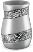 Dwellza Silver Mosaic Bathroom Tumbler Holder (7.6cm x 7.6cm x 11cm ) – Decorative Rinse Cup for Water- Durable Resin Design- Best Tumblers for Mouthwash/ Rinsing