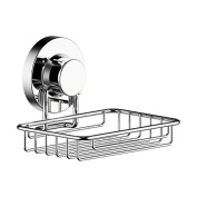 123 Dynamic Stainless Steel Rustproof Soap Dish Holder Basket - Super Strong Rotate & Lock Vacuum Suction Cup – Storage for Shower, Bathroom & Kitchen