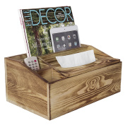 4 Compartment Burnt Wood Organiser Caddy w/ Tissue Holder, Remote Control, Tablet & Magazine Storage Box
