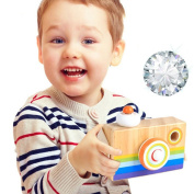 HaloVa Wooden Camera Toy, Creative Hanging Kaleidoscope Camera Picture Lens Pretending Toys for Children, Kids and Toddlers