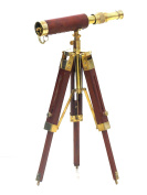 Solid Brass Telescope With Wooden Tripod Stand By Nauticalmart