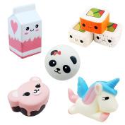 5pcs SQUISHIES Jumbo Slow Rising Kawaii Squishy toys prime Unicorn + Sushi + Milk + Bear Cake + Panda