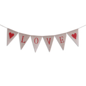 Tinksky LOVE Letters and Hearts Valentine's Day Bunting Banners Rustic Jute Burlap Pennant Flags Vintage Wedding Garland