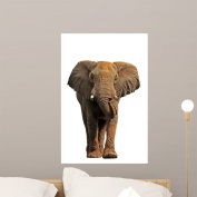 African Elephant White Wall Decal by Wallmonkeys Peel and Stick Graphic (60cm H x 48cm W) WM206284