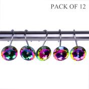 Adwaita Decorative Shower Curtain Hooks - Glass Crystal Rhinestones - Set of 12