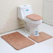 3PC Bathroom Set ,Solid Colour Rug+Lid Toilet Cover+Bath Mat