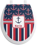 Nautical Anchors & Stripes Toilet Seat Decal - Round
