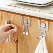 Over Cabinet Door Double Hooks, Stainless Steel Clothes Coat Hat Towel Holder Rack Hanger for Office Bathroom Kitchen
