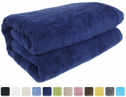 SALBAKOS Luxury Spa 100% Combed Turkish Cotton Large Oversized Eco-Friendly Bath Sheet 100cm x 200cm , Navy
