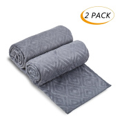Microfiber Bath Towels, JML Bath Towel 2 Pack(80cm x 150cm ), Oversized, Soft, Super Absortbent and Fast Drying, Antibacterial, Multipurpose Use for Sports, Travel, Fitness, Yoga - Solid Colour Grey
