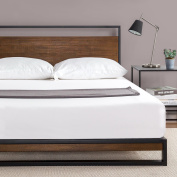 Zinus Ironline Metal and Wood Platform Bed with Headboard / Box Spring Optional / Wood Slat Support, Twin