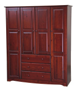 NEW! 100% Solid Wood Family Wardrobe/Armoire/Closet 5962 by Palace Imports, Mahogany, 150cm W x 180cm H x 50cm D. 3 Clothing Rods Included. Optional Small And Large Shelves Sold Separately.