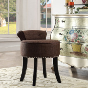 Taylor Brown Linen Vanity Stool - Nailhead Trim | Roll Back | Button Tufted |Bedroom| Inspired Home