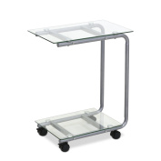 Furinno FTD0412GC Kaca U-Shaped Glass Laptop Desk, Clear