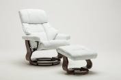 Madison Home Mid Century Modern Bonded Leather Lounge Swivel and Recliner Chair with Foot Stool Ottoman White