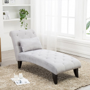 Tongli Chaise Lounge Button Tufted Sofa Chair Couch for Bedroom or Living Room Grey 2