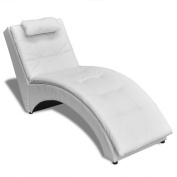 Chaise Lounge Chair Indoor Modern Sofa Bed Artificial Leather White Upholstered