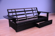 Phoenix Futon in Black with Storage Drawer