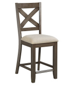 Standard Furniture 16694 Omaha Grey Counter Height X-Back Barstool