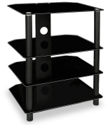 Mount-It! AV Component Media Stand, Glass Shelves, Audio Video Components, Storage for Xbox, Playstation, Speakers, Cable Boxes, 40kg Load Capacity, Black Silk