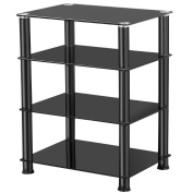 Topeakmart 4 Tier Media Stand for Audio Video AV Components, Tempered Glass Stand Black