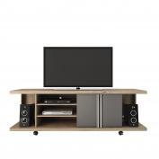 Manhattan Comfort Carnegie Collection Flat Screen TV Stand with Storage Compartments, 180cm L x 43cm D x 60cm H, Nature/Onyx