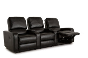 Klaussner Twilight Home Theatre Seating Manual Reclinable Bonded Leather Row of 3 with Storage and Cupholders Black