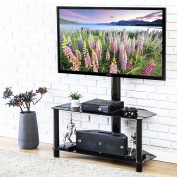 FITUEYES Universal Swivel Floor TV Stand with Mount Glass Shelf for 32 37 40 42 49 50 140cm Tv TW209001MB