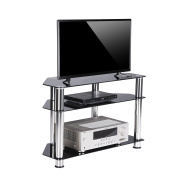 RFIVER Black Glass Corner TV Stand Suit for LED, LCD, OLED and Plasma Flat Screen TVs up to 90cm ,Black Glass and Chrome tube TS1002 …