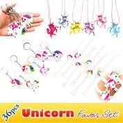 Rainbow Unicorn Toy Novelty Birthday Party Favour Set, 36pcs, Unicorn Bracelets, Necklaces, Keychains