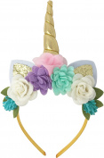 PoshPeanut Unicorn Childrens Party Hat Horn Glitter Hard Headband Spiral Unicorn Horn