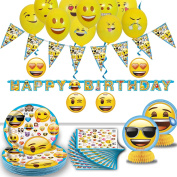 Emoji Birthday Party - 16 Guest- Supplies, Decorations, Balloons - Plates, Napkins, Happy Birthday Banner, Pennant String, Hanging Swirls, Emoji Balloons, Table Centrepieces. Emoji Tableware and Deco