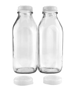 Quart-Size Glass Milk Bottles (2-Pack); Clear Glass Square Vintage Style Jug Great for Storing Milk, Juice & Water in Fridge, Includes 2 Extra Lids