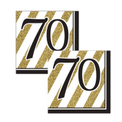 Black & Gold 70th Lunch Napkins - 32 Count