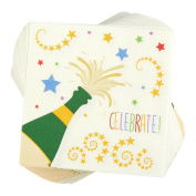 100-Pack Cocktail Napkins - Disposable Paper Party Celebrate! Napkins with Champagne Design - Perfect for New Years, Birthday and Anniversary Celebrations, 13cm x 13cm Folded