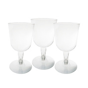 Party Essentials Hard Plastic Two Piece 160ml Wine Glasses, Clear, Pack of 50