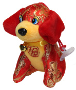 Lucore 10cm Red & Gold Brocade Hound Dog Plush Stuffed Animal Toy Decoration - 2018 Chinese New Year Hanging Doll Lucky Charm Ornament with Jingle Bell Collar