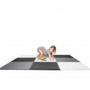 Kids Foam Play Mat Large Puzzle Tiles 3.3sqm (1.8m x 1.8m area) Black, Grey, White
