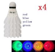 EatingBiting(R)4PCS RED BLUE YELLOW GREEN LED Glow in Dark Badminton Shuttlecock Dark Night Glow Birdies Lighting For Outdoor & Indoor Sports Activities