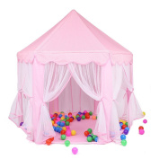 Porpora Kids Indoor/Outdoor Princess Castle Play Tent Fairy Princess Portable Fun Perfect Hexagon Large Playhouse Toys for Girls,Boys,Children Toddlers Gift/Present Extra Large Room 140cm x 130cm (DxH) PINK