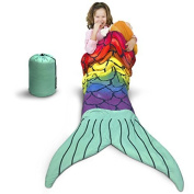 Kids Mermaid Sleeping Bag – Slumber Party Sleeping Bag with Mermaid Tail - REAL Zippered Sleeping Bag not just a Blanket - Poly Filled for Warmth