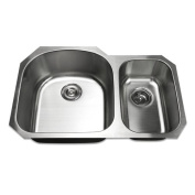 Luxier 80cm Undermount 70/30 Offset Double Bowl Stainless Steel Kitchen Sink