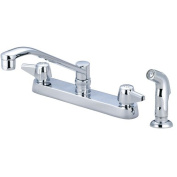 Central Brass Double Handle Kitchen Faucet with Side Spray