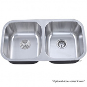 Luxier 80cm Undermount 50/50 Equal Double Bowl Stainless Steel Kitchen Sink