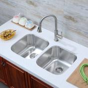 Luxier Stainless Steel 80cm x 48cm Double Basin Undermount Kitchen Sink