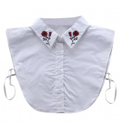 Kolylong New Detachable Collar False Collar Blouse Shirt with Embroidery for Women, White