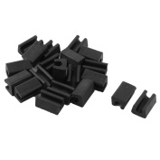 Unique Bargains 20 Pcs Antislip Plastic U Shape 8mm Chair Foot Cover Table Furniture Leg Protector Black
